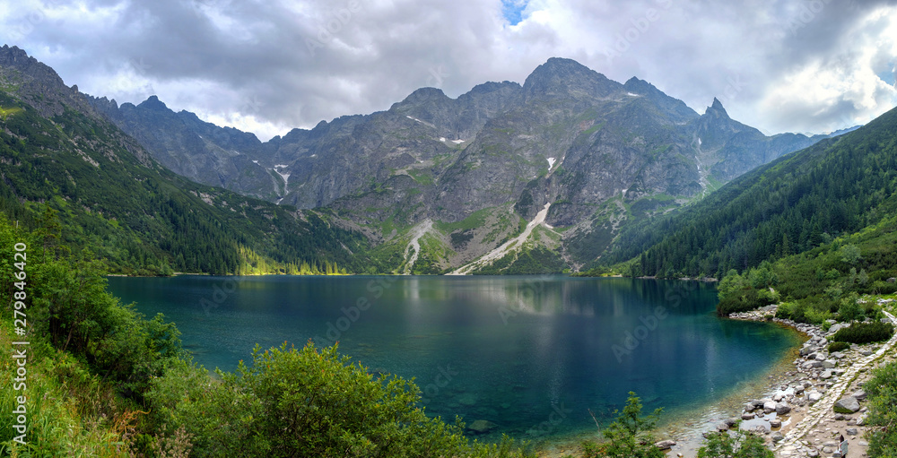 Fototapety, obrazy: Panoramic landscape of the lake Morske Oko (Sea Eye), Zakopane, Poland, High Tatras