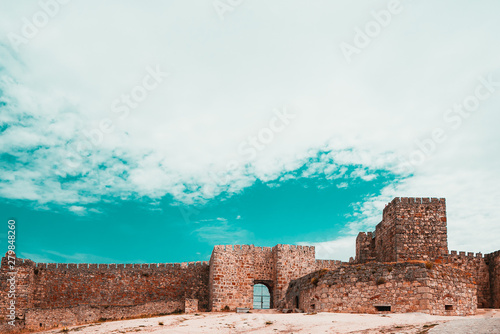 Trujillo, Spain. April 2019: Tourist crowd visiting the famous Castle of Trujillo, a medieval village in the province of Caceres, Spain.Also famous for beig the scenery of several films and TV shows