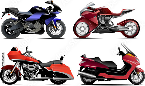 Poster Motorcycle Four modern motorcycle. Vector illustration