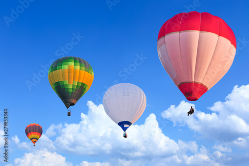 Poster Balloon Colorful Hot Air Balloons in Flight over blue sky
