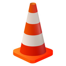 Realistic Orange Cone Road Fencing On A White Background
