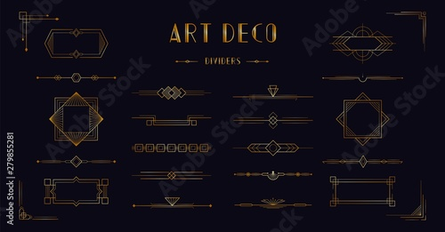 Art deco divider header set Wallpaper Mural