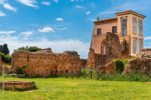 Fototapeta View to ancient Flavian Palace - Domus Flavia- on Palatine hill, Rome, Italy