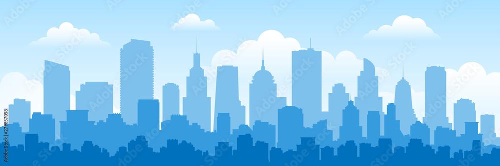 Fototapeta urban panorama cityscape skyline building silhouettes horizontal vector illustration