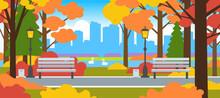 Beautiful Autumn City Park Horizontal Landscape Urban Scene
