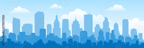 Fototapeta urban panorama cityscape skyline building silhouettes horizontal vector illustration obraz