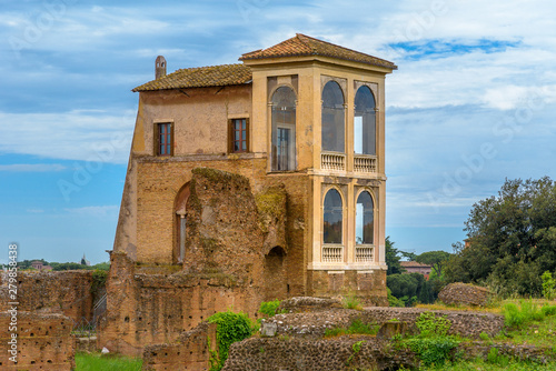 Fényképezés  View to ancient Flavian Palace - Domus Flavia- on Palatine hill, Rome, Italy