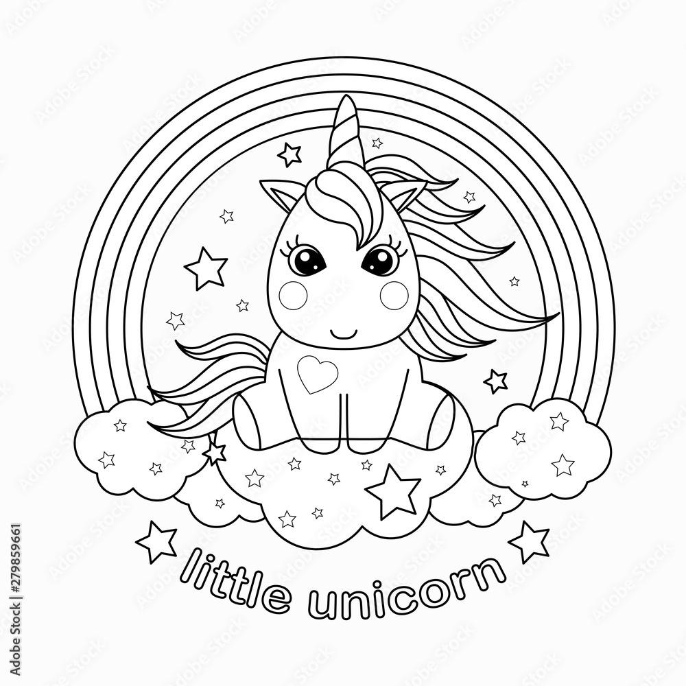 Small, cartoon unicorn. Black and white vector illustration for coloring book. <span>plik: #279859661 | autor: Zerlina</span>