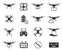 Drones Black Icon Set, Helicop...