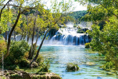 Poster Trees Beautiful View of Krka Waterfalls