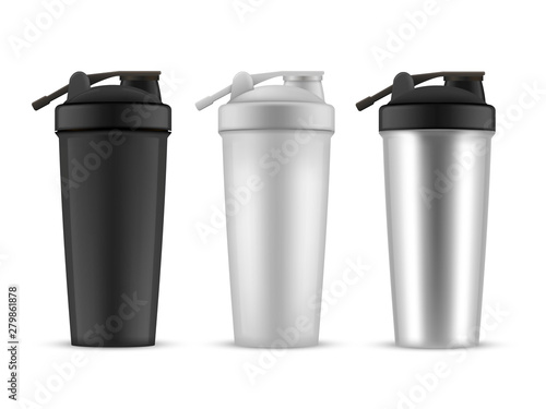 Shaker realistic style set, cup or container Obraz na płótnie