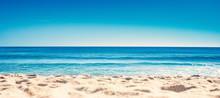 Blue Ocean Wave On Sandy Beach...