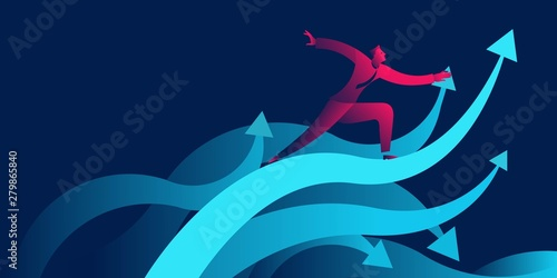 Fototapeta businessman surfing on waves as upward arrow. success, achievement, increase profit, growth business concept in red and blue neon gradients obraz