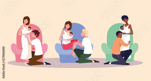 group of parents with baby avatar character