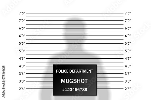 Cuadros en Lienzo  Police lineup or mugshot background with silhouette of  anonymous person