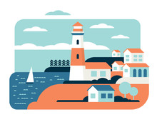 Lighthouse Flat Vector Illustration. Coast Tower. Navigational Aid For Sailors. Marine Building. Sea Port. Summer Travel, Sea Town Landscape. Mediterranean City, Cruise Ship. Seaside Coast