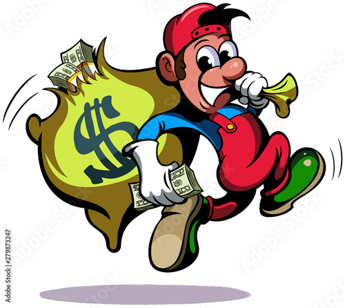 Cartoon style man, running with the bag of money, vector funny cartoon character.