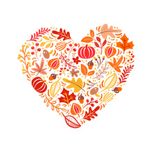 Vector Autumn Elements Made In Heart Love. Mushroom, Acorn, Maple Leaves And Pumpkin Isolated On White Background. Perfect For Seasonal Holidays, Thanksgiving Day