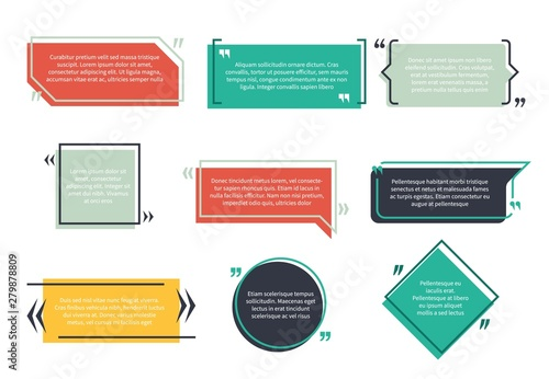 Fototapeta Texting boxes. Feedback typography quote box speech bubble template text note brackets citation page empty frame and geometric logo set obraz