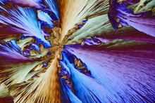 Colorful Micro Crystals In Polarized Light. Photo Through A Microscope.