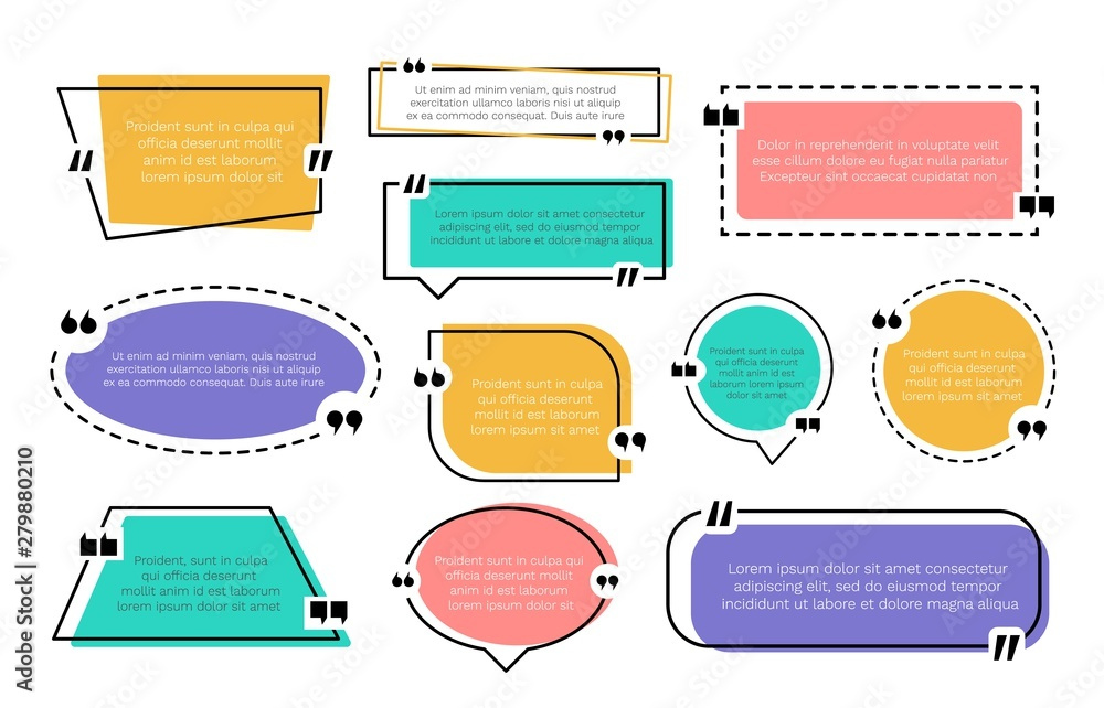 Fototapety, obrazy: Abstract texting boxes. Speech citation balloon note, vector remark frame set of quotation bubble blog quotes symbols. Quote text design template