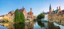 Belgium, West Flanders (Vlaanderen), Bruges (Brugge). Belfort Van Brugge And Medieval Buildings On The Dijver Canal From Rozenhoedkaai At Dawn.