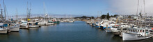 Moored Fishing Boats At Pillar Point, Half Moon Bay, California. Panorama.
