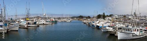 Moored fishing boats at Pillar Point, Half Moon Bay, California. Panorama.