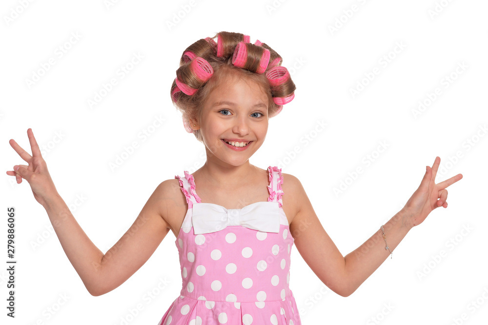 Fototapety, obrazy: portrait of emotional little pretty girl with hair curlers