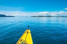 Bow Of An Outrigger Boat On Blue Water In Hidden Lagoon, Coron Island, Palawan, Philippines
