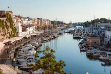 Historic Harbour Waterfront At Sunset, Ciutadella, Menorca, Balearic Islands, Spain