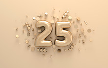 Golden 3d Number 25 With Festi...