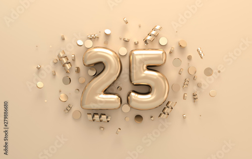 Fotografia  Golden 3d number 25 with festive confetti and spiral ribbons