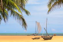 Oruwa (outrigger Canoe) On Negombo Beach, Western Province, Sri Lanka