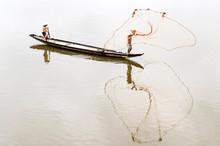 Men Fishing In River, Vietnam