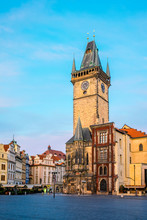 Czech Republic, Prague, Stare Mesto (Old Town). Old Town Hall On Staromestske Namesti, Old Town Square At Dawn.