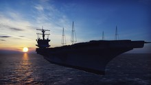 Military Helicopters Blackhawk Take Off From An Aircraft Carrier At Sunrise In The Endless Sea. 3D Rendering