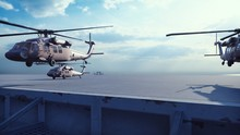 Military Helicopters Blackhawk Take Off From An Aircraft Carrier At Clear Day In The Endless Blue Sea. 3D Rendering