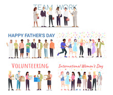 People Celebrating Events Vector Banners Templates Set. International Women, Fathers Day Postcard Design Layout. Volunteering, Charity Organization Poster Concept. Teamwork And Cooperation