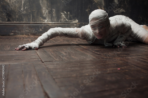 Scary mummy creeps on you Canvas Print