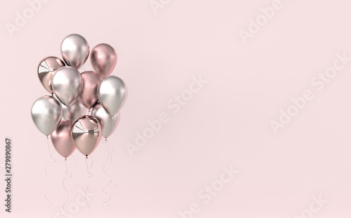 Fotografía  Illustration of glossy pink and rose gold balloons on pastel colored background