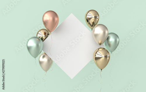 Fotografie, Obraz  Illustration of glossy gold, colorful balloons and white paper on pastel colored background