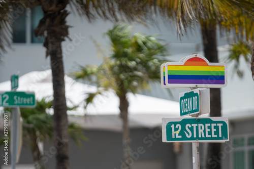 Photo  Gay pride rainbow flag Miami Beach Ocean Drive 12th Street
