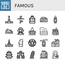 Set Of Famous Icons Such As Monument, Kremlin, Charleston, Cologne, Stonehenge, Clock Tower, Sydney Opera House, Russian, Temple, Algarve, Cathedral Of Saint Basil, Cartagena , Famous