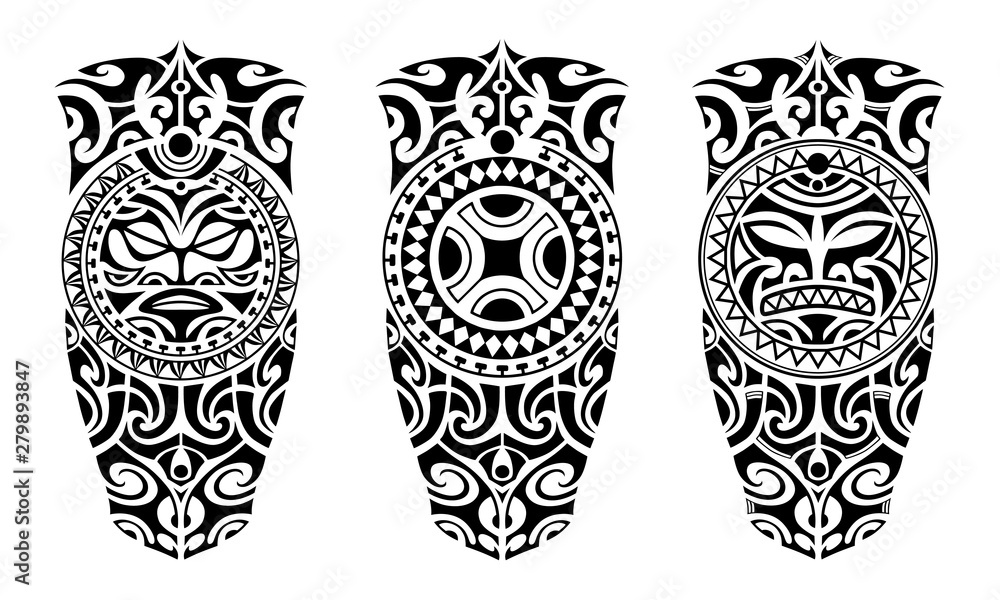 Fototapeta Set of tattoo sketch maori style for leg or shoulder