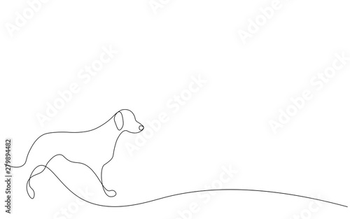 Dog one line drawing vector illustration Canvas Print