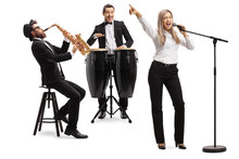 Female Singer, Man Playing Conga Drums And Man With A Sax
