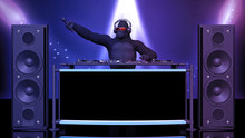 DJ Gorilla, Disc Jockey Monkey Holding Microphone And Playing Music On Turntables, Ape On Stage With Deejay Audio Equipment, 3D Rendering