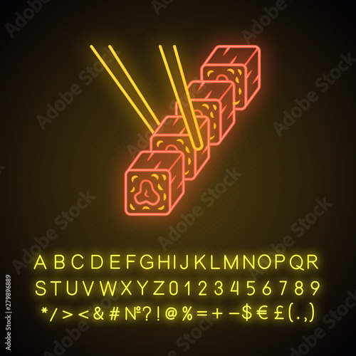 Sushi set with chopsticks neon light icon  Traditional