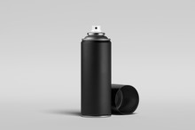 Blank Black Can Of Spray Paint On Isolated On White Background. 3d Rendering.